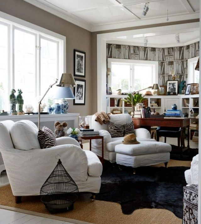 Quality Furniture in a room with lots of layers and textures.