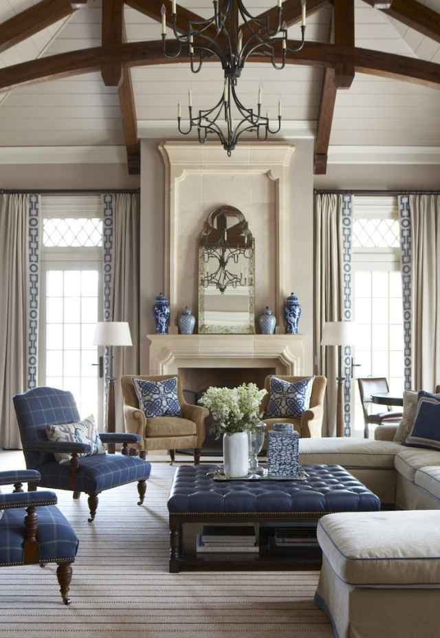 The fireplace anchors this room as it is the focal point.