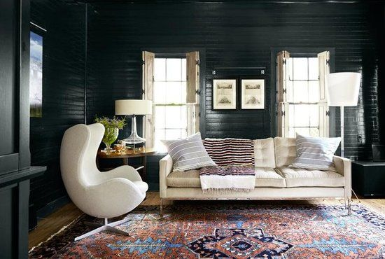 A contrast in style,scale & height with furniture. Via http://apieceoftoastblog.com/
